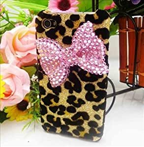 Leegoal(TM) Bling Shiny 3D Pink BOW Leopard Key Case Cover for iPhone 5c 4G