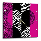 Cheap Janna Salak Designs Pink Black/White Animal Print Leopard and Zebra Wall Clock, 10 by 10-Inch