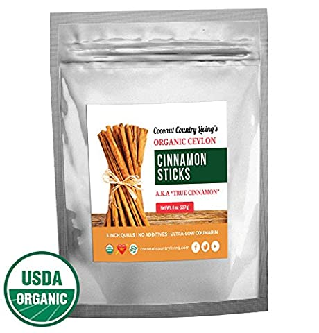 Organic True Ceylon Cinnamon Sticks 8 oz for Culinary & Medicinal Use, COMPLIMENTARY E-BOOK Recipes & Crafts, Great Gourmet Taste, Freshly Harvested & Packed in Sri - Cinnamon Organic Sugar