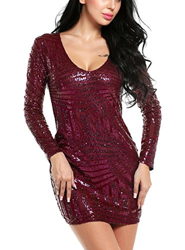 ACEVOG Women's V Neck Long Sleeve Sequined Cocktail Party Club Evening Mini Dress (XX-Large, Dark Red)