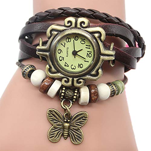 Pocciol Brown Retro Weave Wrap Lady Bead Butterfly Dangle Bracelet Bangle Quartz Wrist Watch (Black) by Pocciol Cheap-Nice Watch (Image #1)