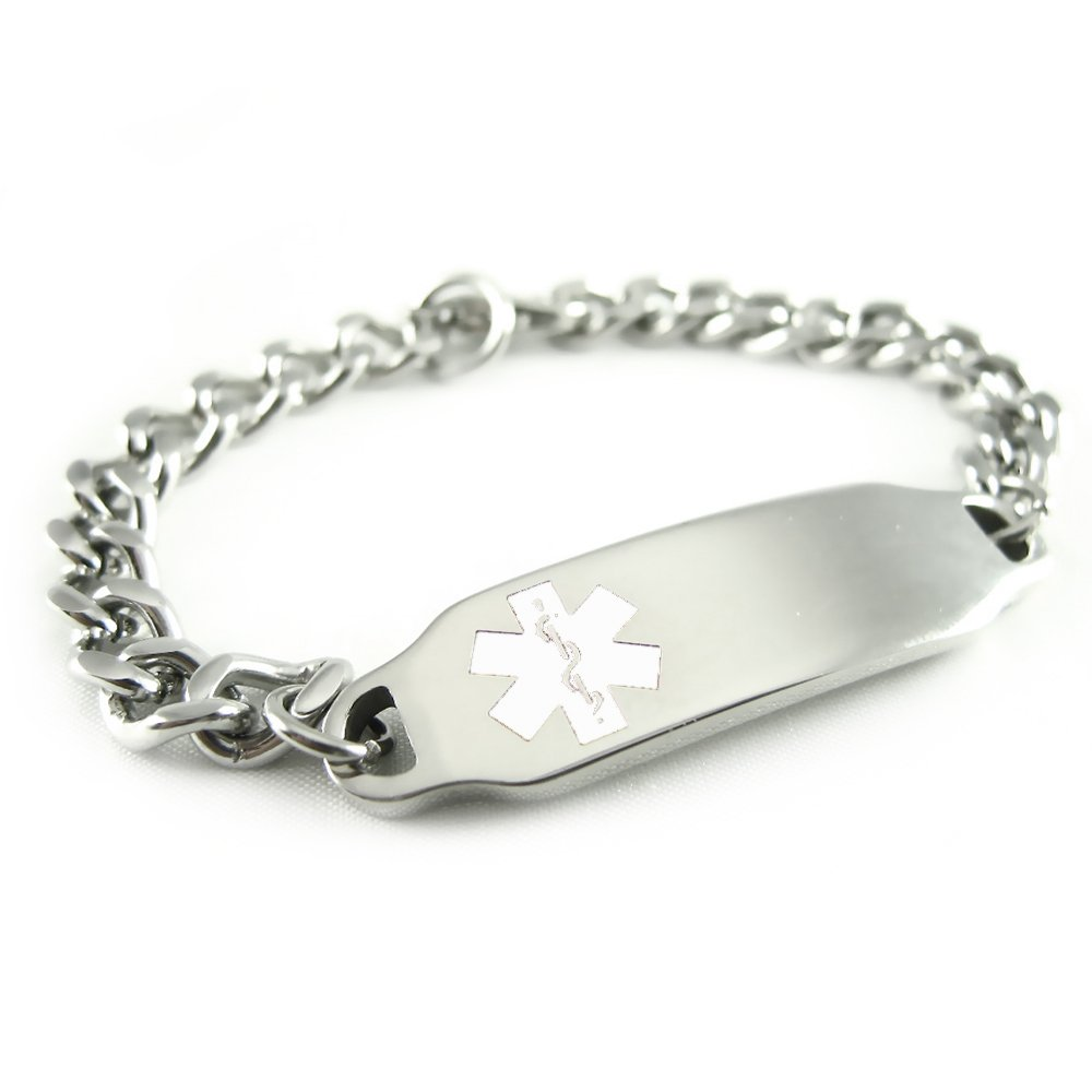 My Identity Doctor Stainless Steel, Medical Alert ID Bracelet, Curb Chain, White Symbol i2W-BS1(BLANK)