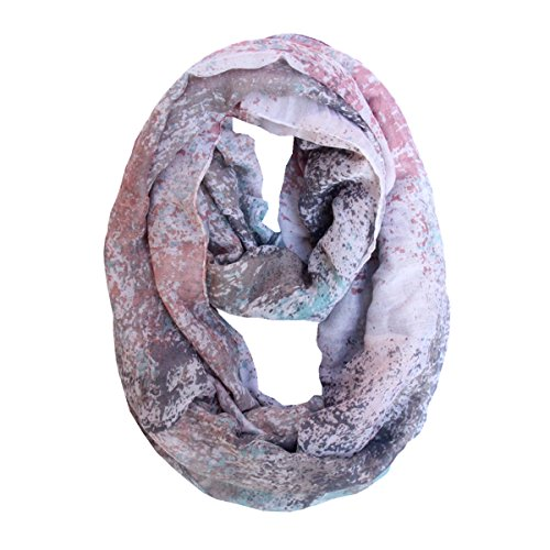 Lucky Leaf Women Lightweight Cozy Infinity Loop Scarf with Various Artist Print (Floral Pink)