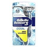 Cheap Gillette Sensor3 Cool Men's 3-Bladed Disposable Razor, 5 Count (Pack of 12)
