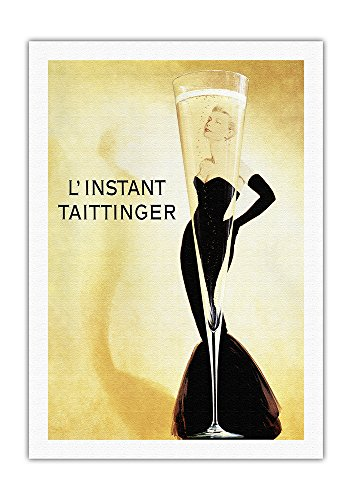 L'Instant Taittinger (The Taittinger Moment) - Champagne Advertisement - Grace Kelly - Vintage Advertising Poster by Claude Taittinger c.1988 - Fine Art Rolled Canvas Print - 27in x ()