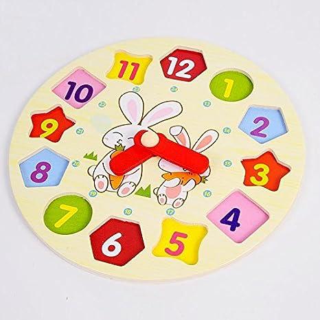 Shape Building Blocks Colorful Coomir Of Digital Toy Wooden Clock w8n0mN