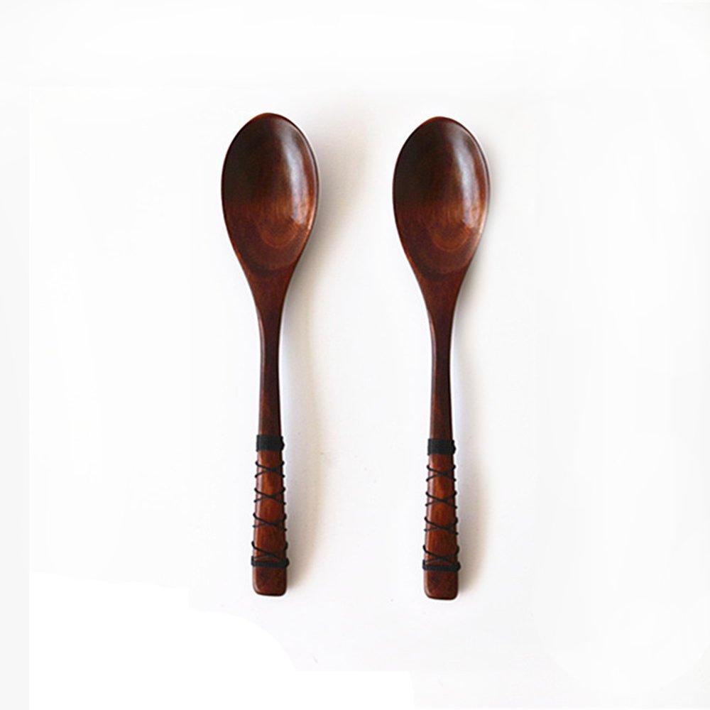 FengYun® Handmade Natural Wooden Spoon Soup Coffee Tea Spoon Tableware 2pcs