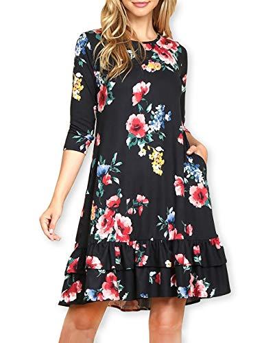 - AOOKSMERY Elegant Women Floral Ruffled Hem Pocket Short 3/4 Long Sleeve A-Line Knee-Length Tunic Dress Black