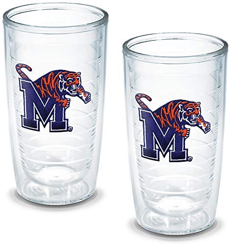 Tervis 1005945 Memphis University Emblem Tumbler, Set of 2, 16 oz, Clear ()