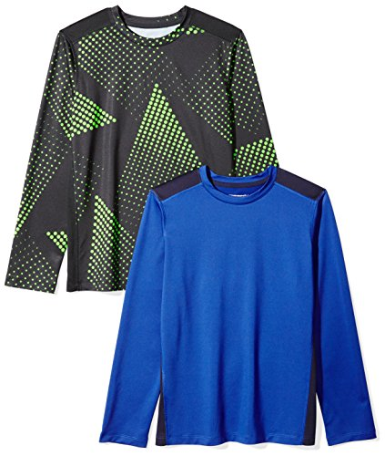 Amazon Essentials Boys' 2-Pack Long-Sleeve Pieced Active Tee, Gradient/Blue, L (Teen Tunes)