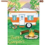 Premier Kites 52093 House Premier Soft Flag, Happy Campers, 28 by 40-Inch