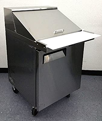 """28"""" 1 Door Commercial Refrigerated Mega Top Salad Sandwich Prep Station Table Cooler Fridge, MSF8305, 12 Pans INCLUDED, 8 Cubic Feet, Cutting Board, for Restaurant"""