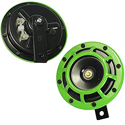 CARMOCAR Eletric Car Horn Kit 12V 135db Super Loud High Tone and Low Tone Metal Twin Horn Kit with Bracket for Cars Trucks SUVs RVs Vans Motorcycles Off Road Boats (Green): Automotive