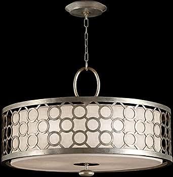 Fine Art Lamps 780140, Allegretto Large Drum Pendant, 3 Light, 450 Total Watts, Silver