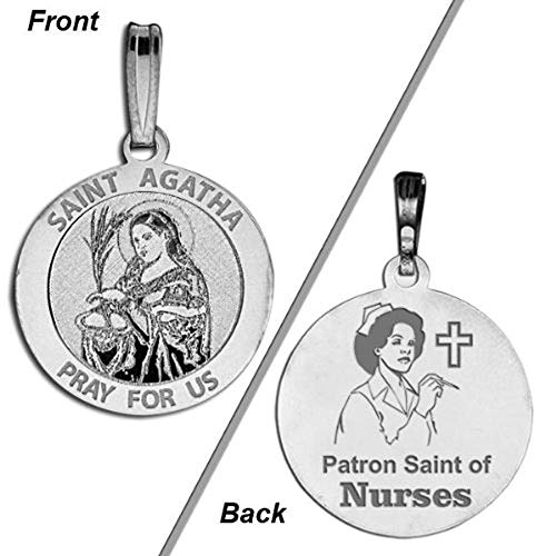Religious Medal - 2/3 Inch Size of Dime, Solid 14K White Gold ()