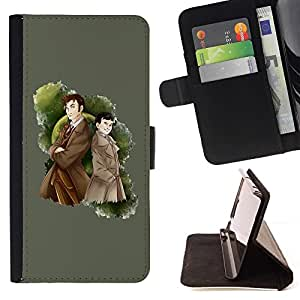 Momo Phone Case / Flip Funda de Cuero Case Cover - Detective Gabardina Hombre muchacho del gráfico de la historieta - Samsung Galaxy S6 Active G890A