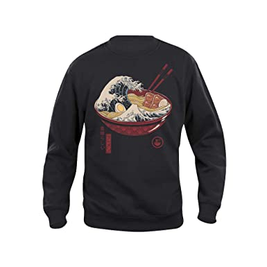 Pampling Sudadera Great Ramen Wave - Ramen - Japon - Color Negro - Serigrafía: Amazon.es: Ropa y accesorios