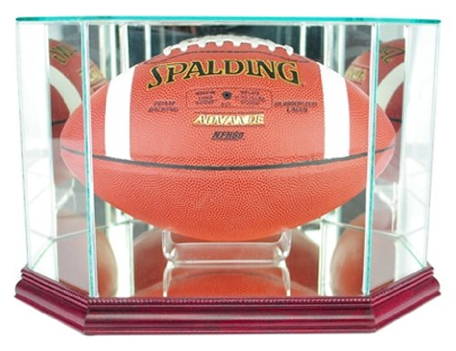 Perfect Cases NFL Octagon Football Glass Display Case, Cherry