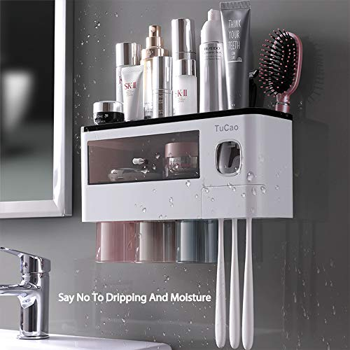 TuCao Automatic Toothpaste Dispenser Squeezer Wall Mounted & Space-Saving Toothbrush Holder for Bathroom,3 Transparent Magnetic Cups,6 Toothbrush Slot with Cover and Cosmetic Organizer Drawer(3 Cups)