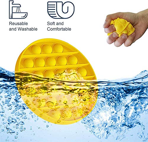 Push Pop Bubble Fidget Sensory Toy, Pop Pop Fidget Toy Gifts for Boys and Girls, Autism Special Needs Silicone Squeeze Sensory Toy for Kids, Adult Stress Reliever Anxiety Relief (Circular-Yellow)