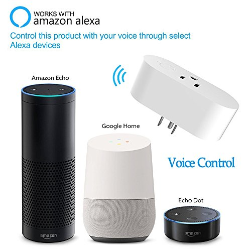 Wifi Smart Plug,Loneyshow Mini Smart Socket Work with Alexa/Echo dot Voice Control Timing Function Energy Monitoring No Hub Required Control Your Home from Anywhere for iOS Android Tablets(2 pack) by Loneyshow (Image #1)