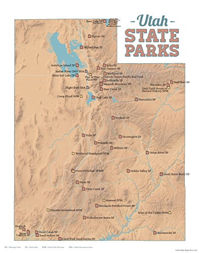 graphic relating to Printable Map of Utah referred to as : Great Maps At any time Utah Country Parks Map 11x14 Print