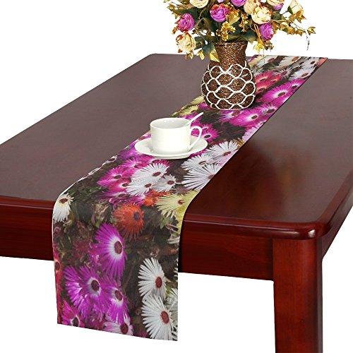QYUESHANG Hwasaham Livingstone Daisy Flowers Garden Table Runner, Kitchen Dining Table Runner 16 X 72 Inch For Dinner Parties, Events, - Livingstone Garden