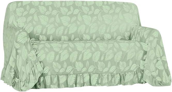 Leaf Pattern Ruffled Furniture Throw Cover