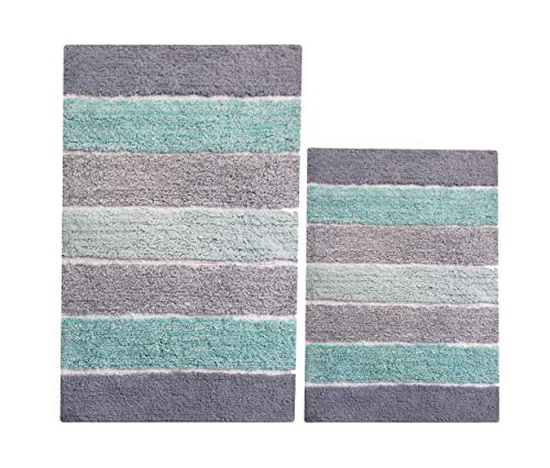 Chardin home - 100% Pure Cotton - 2 Piece Cordural Stripe Bath Rug Set, (21''x34'' & 17''x24'') Mint Green with Latex Spray Non-Skid Backing (Decor Teal Green)