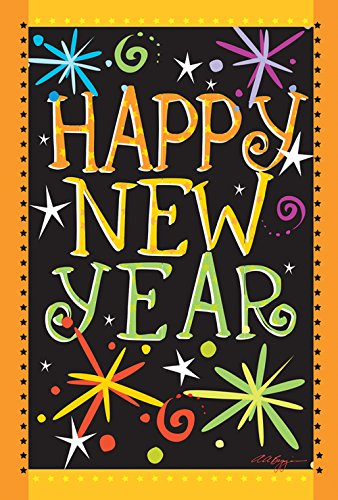 Toland Home Garden Happy New Year 12.5 x 18 Inch Decorative Firework Celebration Garden Flag (1110449)