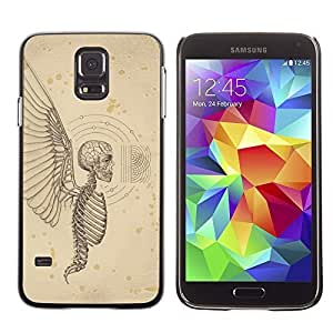 Colorful Printed Hard Protective Back Case Cover Shell Skin for SAMSUNG Galaxy S5 V / i9600 / SM-G900F / SM-G900M / SM-G900A / SM-G900T / SM-G900W8 ( Angel Death Wings Hell Skeleton Skull )