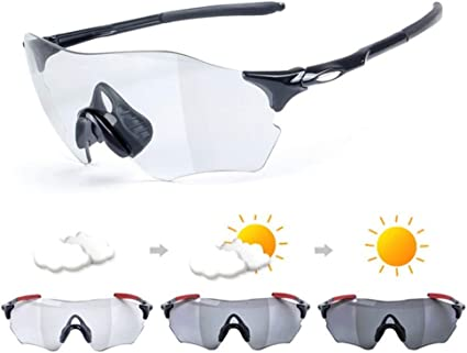 ROCKBROS Photochromic Rimless Sunglasses Eyewear UV400 Goggles White Red