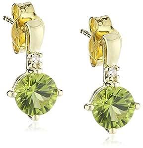 Goldmaid Pendientes de Mujer de oro amarillo con Corte Brillante Redondo Diamante Verde