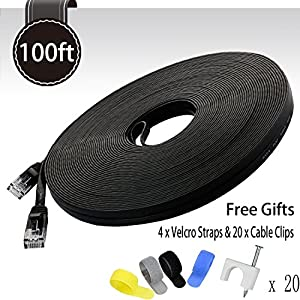Cat 6 Ethernet Cable Black 100ft (At a Cat5e Price but Higher Bandwidth) Flat Internet Network Cable - Cat6 Ethernet Patch Cable Short - Cat6 Computer Cable With Snagless RJ45 Connectors