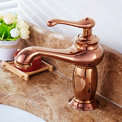 (Ling Kitchen Sink Faucets Basin Mixer Faucet Tap Bathroom Faucet Tap Gold-Copper hot Cold Bath Blue-and-Gold Plated Antique Porcelain. Spout Water Pull Out )