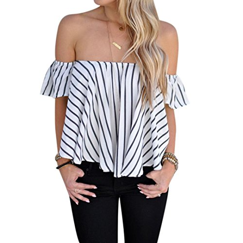 YANG-YI Women Off Shoulder Stripe Casual Round Neck Blouse T-Shirt Tops (XL) (Lace Panel Stand Collar)