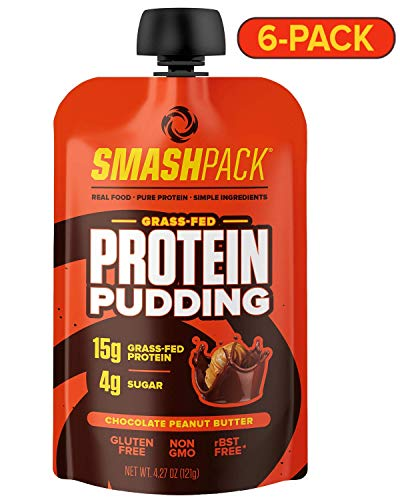 SmashPack Protein Pudding | Grass-Fed Protein Pudding Pouches - Low Sugar, Low Carb Snack - 15g Protein - 4g Sugar - 130 Calories Gluten Free, Non-GMO, Keto Friendly (Chocolate Peanut Butter, 6 Pack)