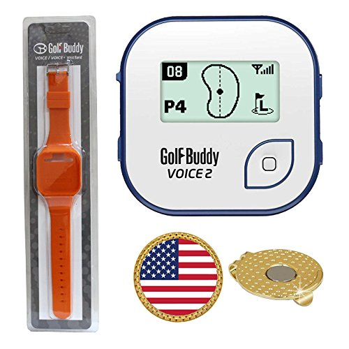 GolfBuddy Voice 2 Golf GPS/Rangefinder (40k+ Preloaded Worldwide Courses) Bundle with Wrist Band and Magnetic Hat Clip Ball Marker (USA Flag) by AMBA7