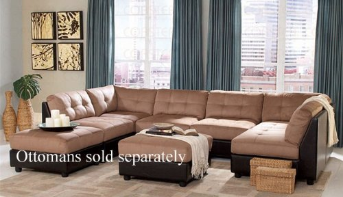Sectional Button Tufted Design Microfiber Features