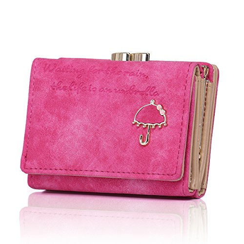 APHISON RFID Women's Nubuck Leather Wallet Card Holder Cute Small Coin Purse for Lady Kiss Lock Closure/Gift for ()
