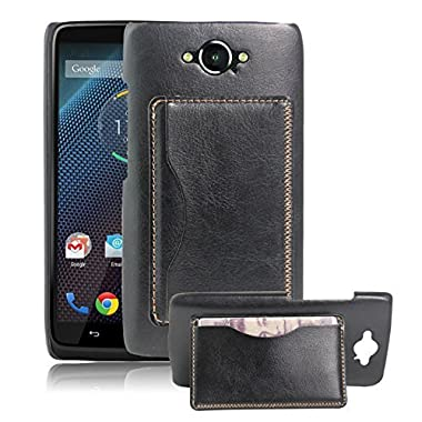 Premium Leather Flip Wallet Case Cover with Stand Card Holder for Motorola DROID Turbo Phone (Verizon XT1254, Not Compatible with Ballistic Nylon Version) (Bracket - Black)