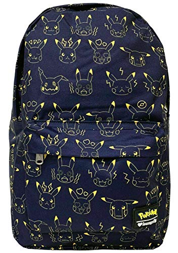 Loungefly x Pokemon Pikachu Expressions Nylon Backpack, Multicolored, One Size ()
