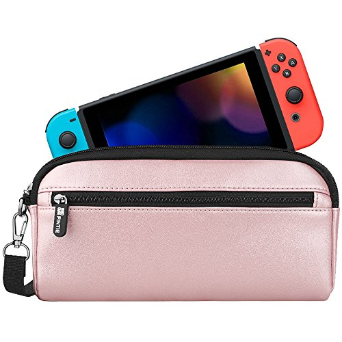 Fintie Carrying Case for Nintendo Switch, Protective Sleeve Pouch Bag with Side Pocket & Foldable Game Storage Sheet for Nintendo Switch and Accessories - Rose Gold