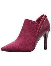 Jamron Women Elegant Pointed-Toe Stiletto Pumps Newly Autumn High Heel Velvet & Leather Slip On Booties