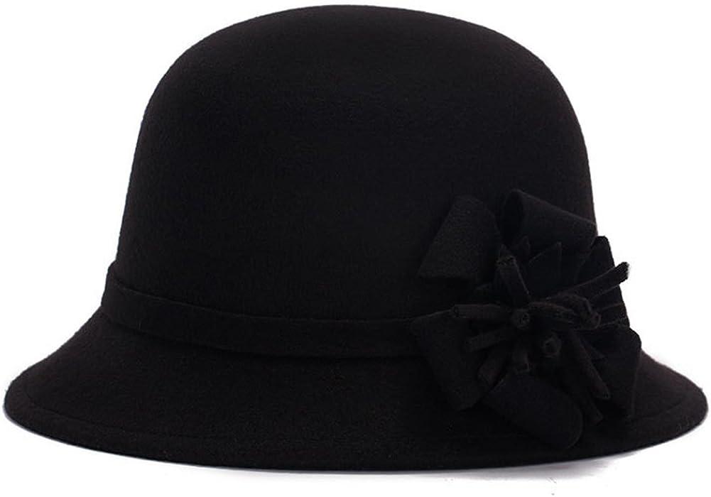 2b0e475415913 Academyus Women Girls Fashion Autumn Winter Flower Bowler Hat Top Hat Felt  Cap Floppy Hat