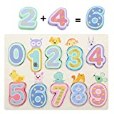 Jamohom Wooden Number Puzzle Board for 1 2 3 Year Old Toddlers Gifts Learning Toys