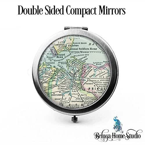 Amazon.com: Custom Map Compact Mirror Norfolk Virginia