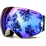 JULI Ski Goggles,Winter Snow Sports Snowboard Goggles with Anti-fog UV Protection Interchangeable Spherical