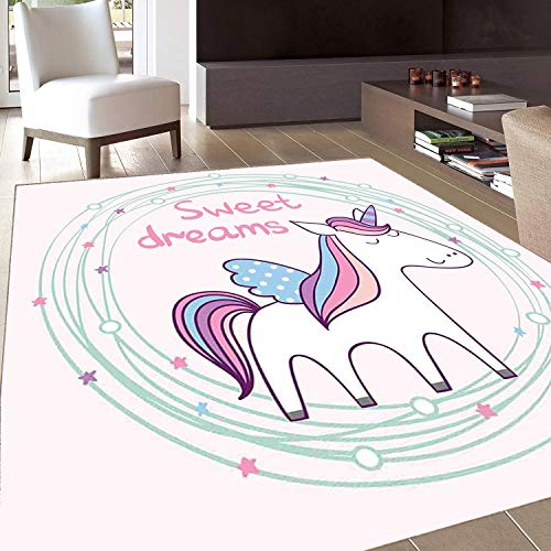 - Rug,FloorMatRug,Sweet Dreams,AreaRug,Cute Magical Unicorn with Hand Drawn Circles Dots and Stars Nursery Theme,Home mat,5'x6'Multicolor,RubberNonSlip,Indoor/FrontDoor/KitchenandLivingRoom/Bed