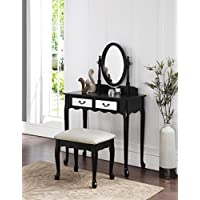 3-Piece Wood Make-Up Mirror Vanity Dresser Table and Stool Set, Black